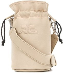 quilted-logo cylindrical bucket bag - NEUTRALS