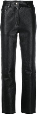 leather logo embossed trousers - Black