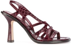 embossed crocodile effect sandals - Red