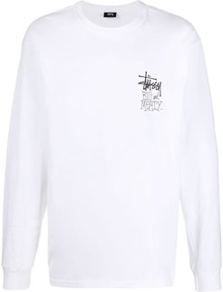 logo-print long-sleeved T-shirt - White