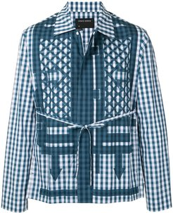waist-tied gingham jacket - Blue
