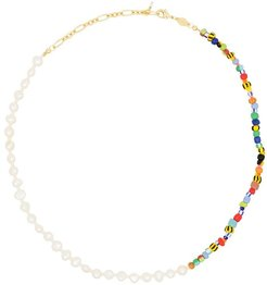 Alaia 18kt gold-plated pearl rainbo necklace - Blue