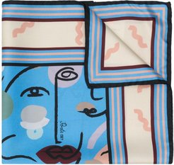 abstract-print scarf - Blue