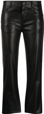 cropped faux-leather trousers - Black