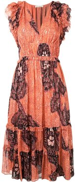 floral embroidered midi dress - ORANGE
