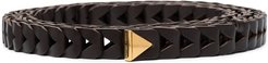 chevron-effect leather belt - Brown