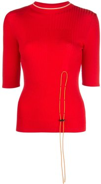 toggle fastened long sleeve top - Red