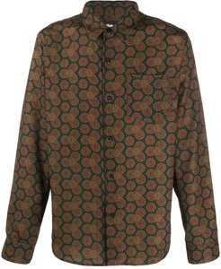 all-over patterned chest pocket shirt - Green