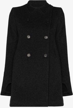 Trompe L'Oeil double-breasted short peacoat