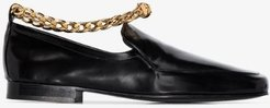 black Nick flat leather chain loafers