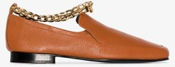 brown Nick chain detail leather loafers