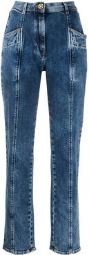 panelled tapered leg jeans - Blue