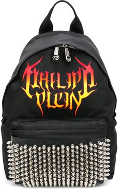 flame logo-print backpack - Black