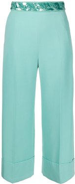 sequinned belt trousers - Blue