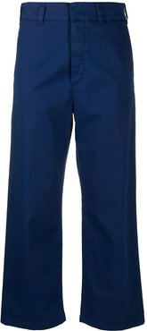 cropped loose-fit trousers - Blue