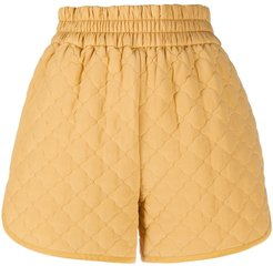 diamond quilted shorts - Yellow