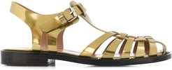 metallic open-toe sandals - GOLD