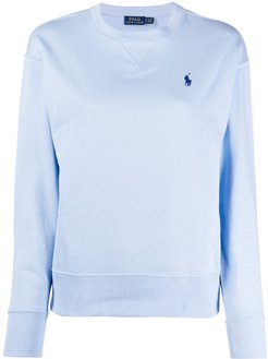 embroidered logo crew-neck sweatshirt - Blue