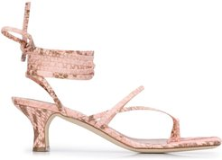 snakeskin-effect 65mm sandals - PINK