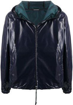 faux-leather hooded jacket - Blue