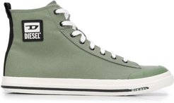high top logo plaque sneakers - Green