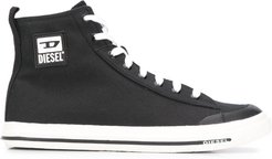 high top logo plaque sneakers - Black