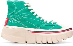 panelled high-top sneakers - Green