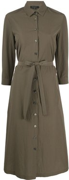 belted cotton shirt dress - Green