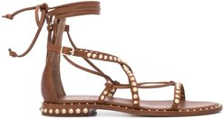 studded flat sandals - Brown