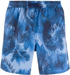 palm tree print drawstring swim shorts - Blue