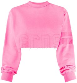 cropped raw edge jumper - PINK