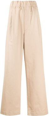high-rise wide-leg trousers - NEUTRALS