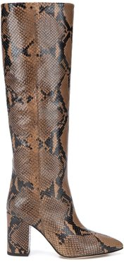 snake effect knee-length boots - Neutrals