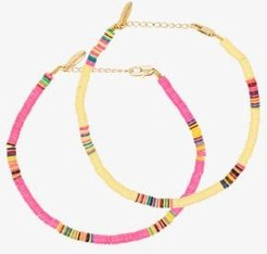 gold-plated Heishi beaded anklet set