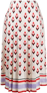 pleated graphic-print skirt - Neutrals