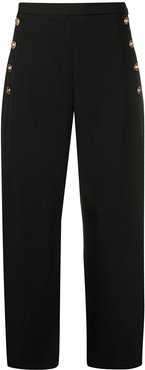 cropped wide-leg trousers - Black