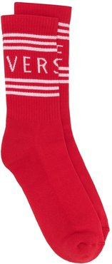 logo stripe socks - Red