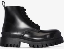 black Strike lace-up leather boots