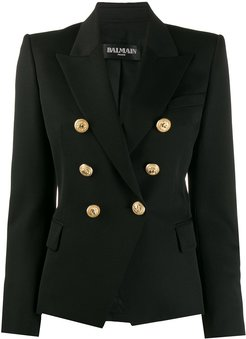 buttoned double-breasted blazer - Black
