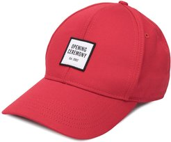 contrast logo patch cap - Red