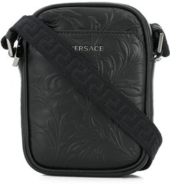 embossed-leather crossbody bag - Black
