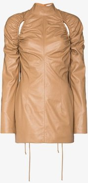 faux leather ruched cutout mini dress