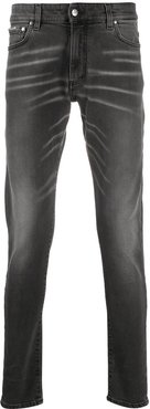 whiskered slim-fit jeans - Grey