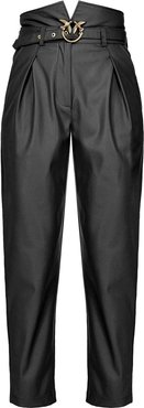 belted faux-leather trousers - Black