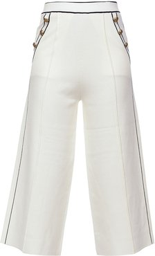 cropped palazzo trousers - White