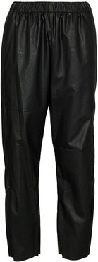 faux leather track pants - Black