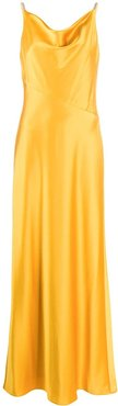 cowl neck shift gown - GOLD