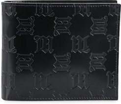 monogram embossed wallet - Black