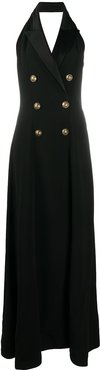 double-breasted evening dress - Black