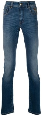 duck-embroidered slim-fit jeans - Blue